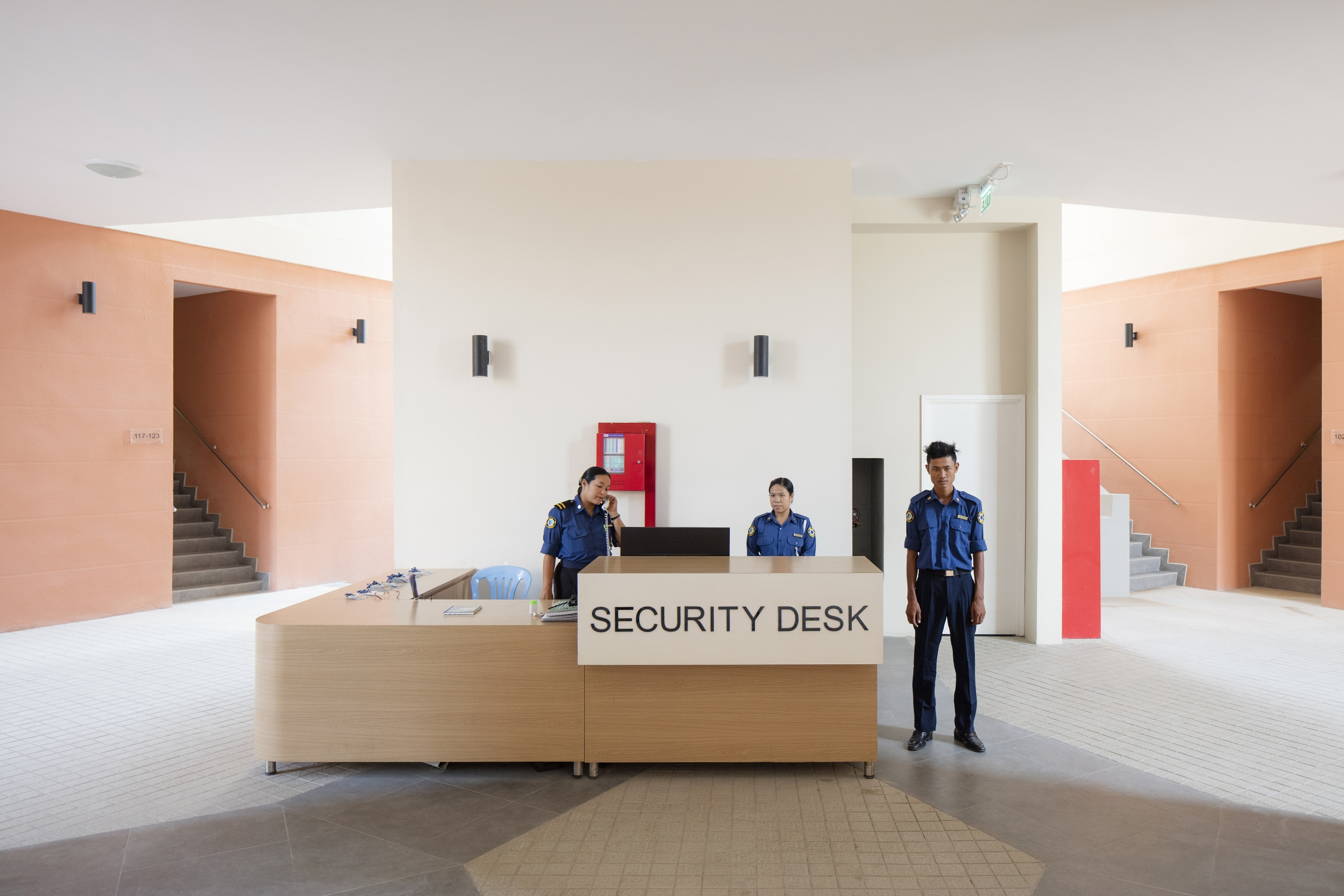 The security desk at the Star City residential development on the outskirts of Yangon. Photograph by David Levene.