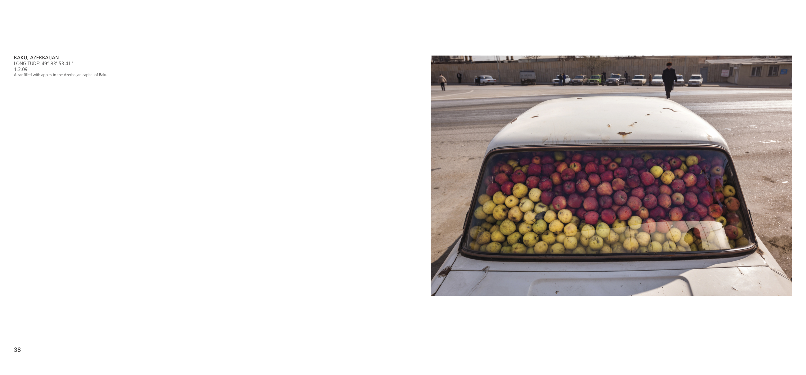 A car filled with apples in the Azerbaijan capital of Baku.