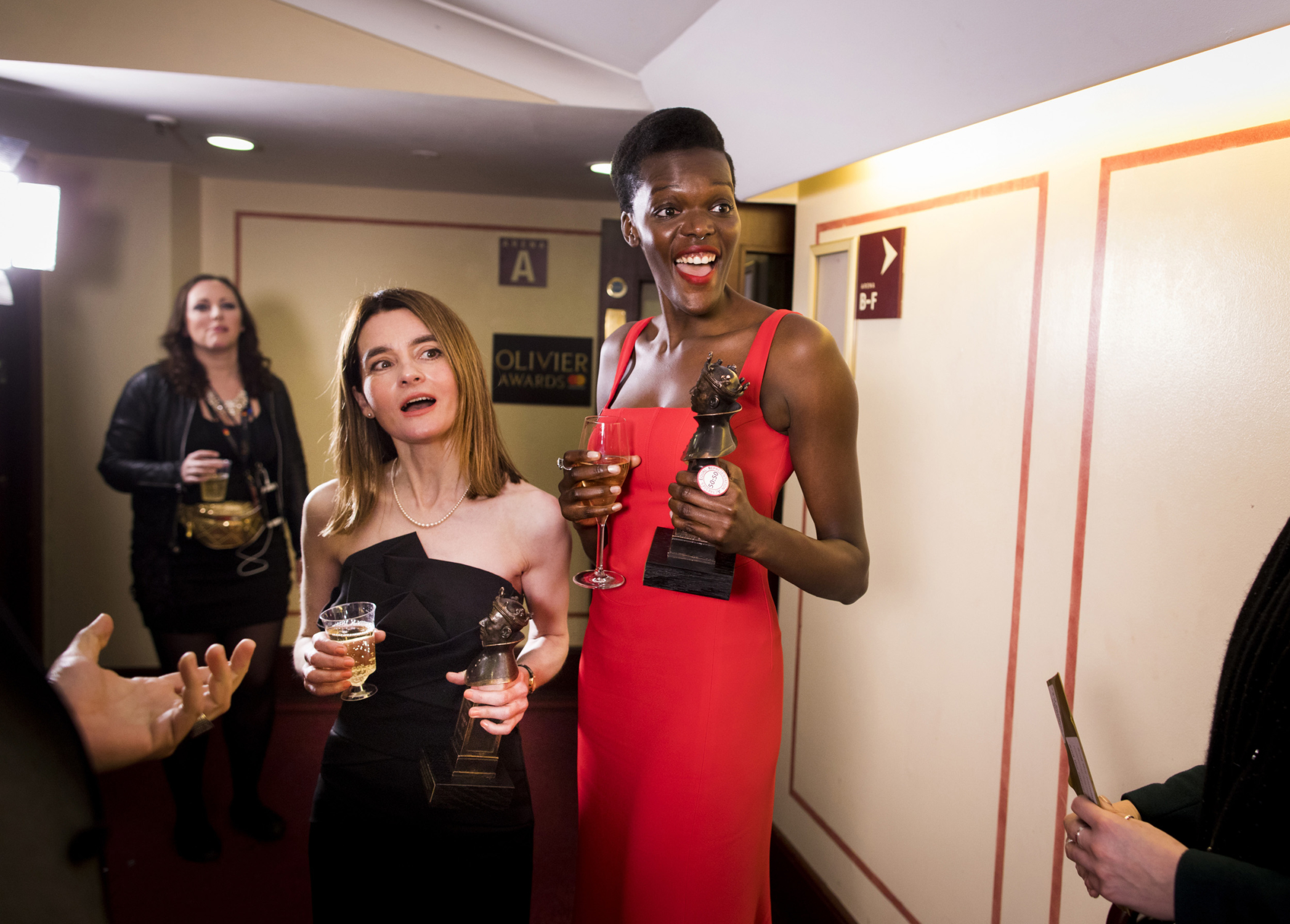 Shirley Henderson and her co-star Sheila Atim who each won an award for their performances in Girl from the North Country. Photograph by David Levene, 2018.